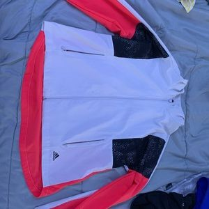 Pink and white adidas windbreaker